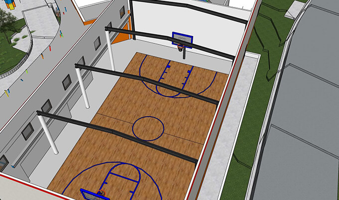 mock-up of a basketball court